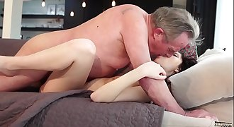 Old and Youthfull Porn - Sweet innocent girlfriend gets fucked by grandpa