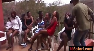 Hot interracial orgy with nasty African sluts on the party after a Safari