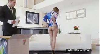 Latina wife rails vacuum salesman